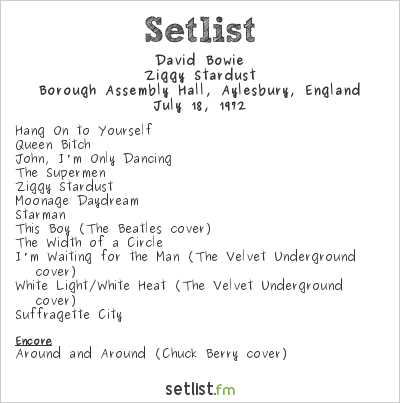 David Bowie Setlist Borough Assembly Hall, Aylesbury, England 1972, Ziggy Stardust Tour