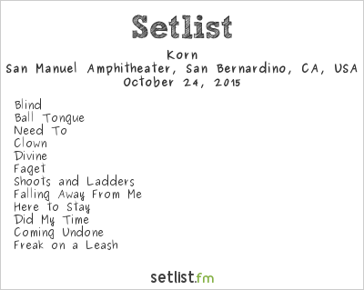 Korn Setlist KnotFest 2015 2015, 20th Anniversary Tour