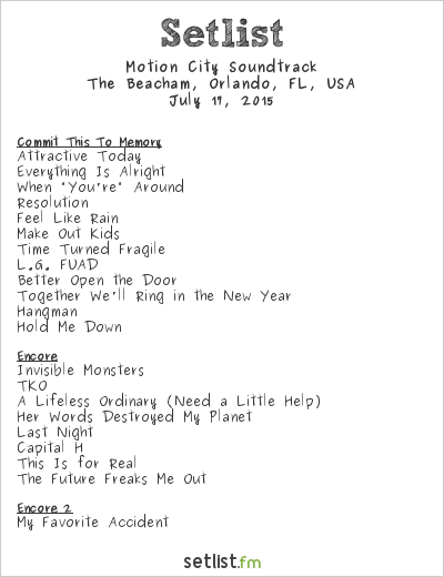 Motion City Soundtrack Setlist The Beacham, Orlando, FL, USA 2015