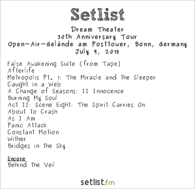 Dream Theater Setlist KUNST!RASEN, Bonn, Germany 2015, 30th Anniversary Tour