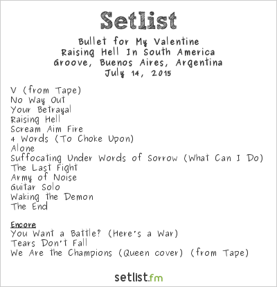 Bullet for My Valentine Setlist Groove, Buenos Aires, Argentina 2015, Raising Hell In South America
