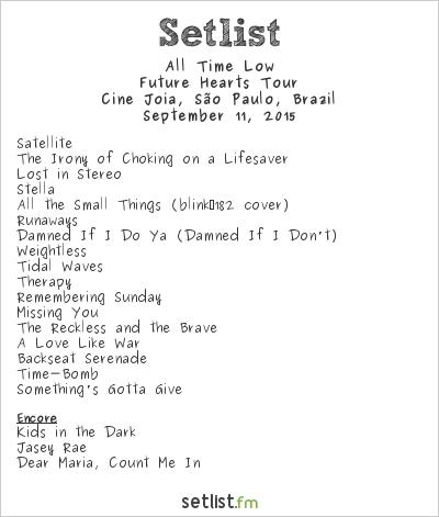 All Time Low Setlist Cine Jóia, São Paulo, Brazil 2015