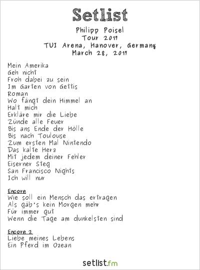 Philipp Poisel Setlist TUI Arena, Hanover, Germany 2017