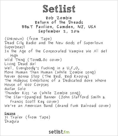 Rob Zombie Setlist BB&T Pavilion, Camden, NJ, USA 2016, Return of the Dreads