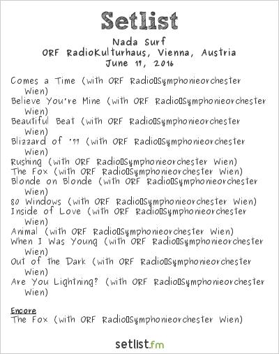 Nada Surf Setlist ORF RadioKulturhaus, Vienna, Austria 2016