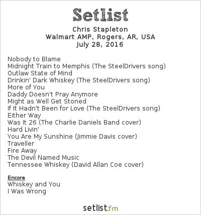 Chris Stapleton Setlist Walmart AMP, Rogers, AR, USA 2016