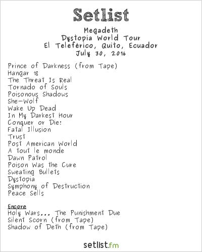 Megadeth Setlist El Teleférico, Quito, Ecuador 2016, Dystopia World Tour