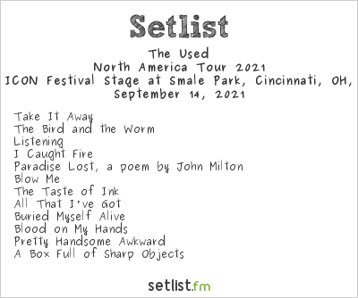 The Used at The ICON Festival Stage at Smale Park, Cincinnati, OH, USA Setlist