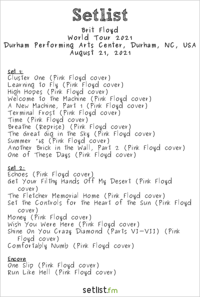Brit Floyd Setlist Durham Performing Arts Center, Durham, NC, USA, World Tour 2021