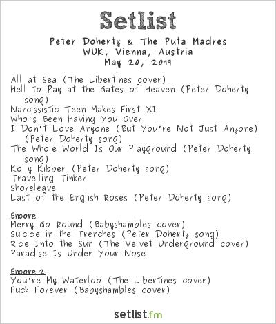 Peter Doherty Setlist WUK, Vienna, Austria 2019