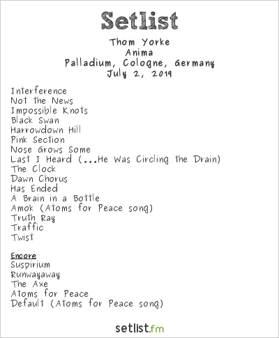 Thom Yorke Setlist Palladium, Cologne, Germany 2019, Anima