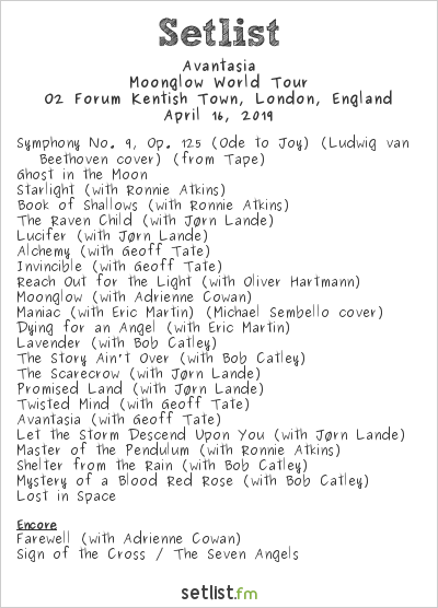 Avantasia Setlist O2 Forum Kentish Town, London, England 2019, Moonglow World Tour