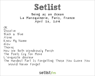 Being as an Ocean Setlist La Maroquinerie, Paris, France 2019
