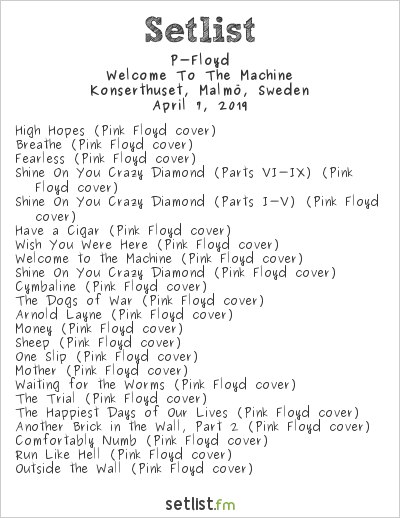 P-Floyd Setlist Konserthuset, Malmö, Sweden 2019, Welcome To The Machine