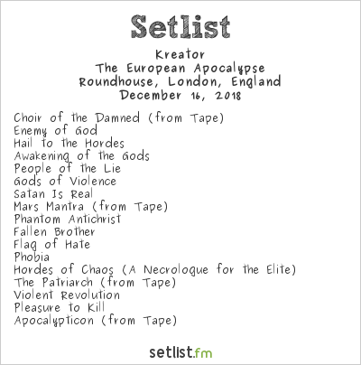 Kreator Setlist Roundhouse, London, England 2018, The European Apocalypse