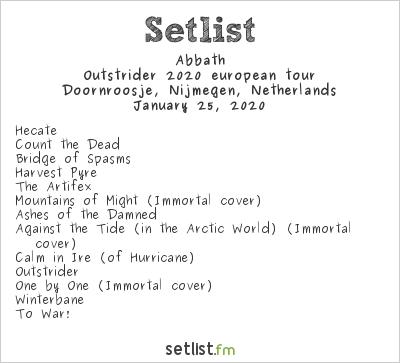Abbath Setlist Doornroosje, Nijmegen, Netherlands 2020, Outstrider 2020 european tour