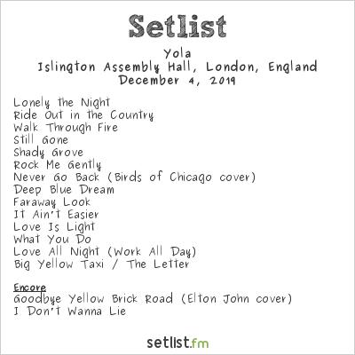 Yola Setlist Islington Assembly Hall, London, England 2019