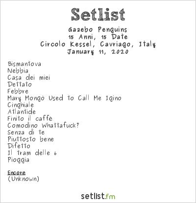 Gazebo Penguins Setlist Circolo Kessel, Cavriago, Italy 2020, 15 Anni, 15 Date