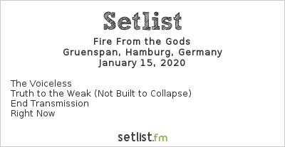 Fire from the Gods Setlist Gruenspan, Hamburg, Germany 2020