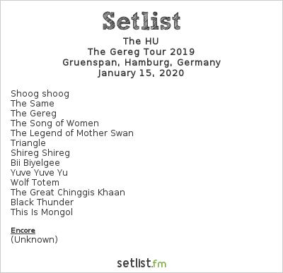 The HU Setlist Gruenspan, Hamburg, Germany 2020, The Gereg Tour 2019