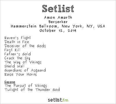 Amon Amarth Setlist Hammerstein Ballroom, New York, NY, USA 2019, Berserker