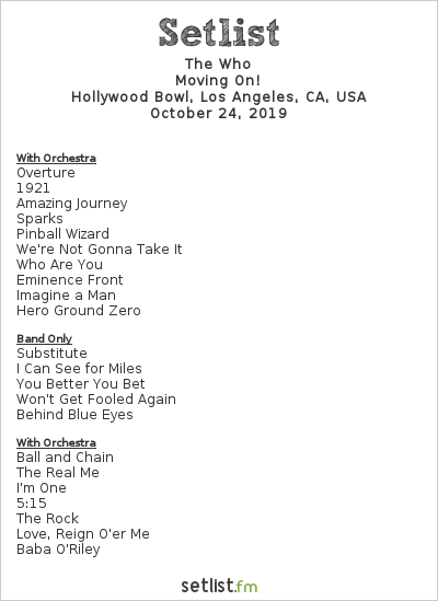 The Who Setlist Hollywood Bowl, Los Angeles, CA, USA 2019, Moving On!