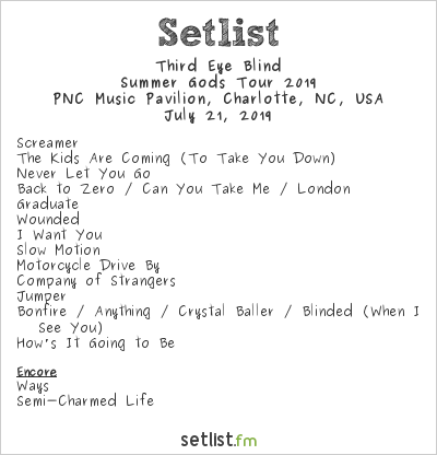 Third Eye Blind Setlist PNC Music Pavilion, Charlotte, NC, USA, Summer Gods Tour 2019
