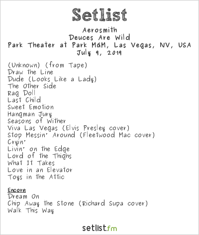 Aerosmith Setlist Park Theater at Park MGM, Las Vegas, NV, USA 2019, Deuces Are Wild
