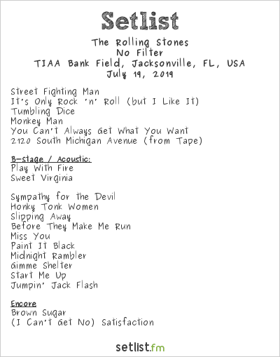 The Rolling Stones Setlist TIAA Bank Field, Jacksonville, FL, USA 2019, No Filter