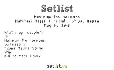 Maximum the Hormone Setlist Ozzfest Japan 2013 2013