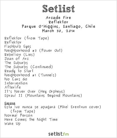Arcade Fire Setlist Lollapalooza Chile 2014 2014, Reflektor