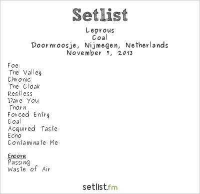 Leprous Setlist Doornroosje, Nijmegen, Netherlands 2013, Coal