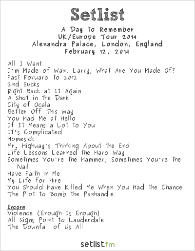 A Day to Remember Setlist Alexandra Palace, London, England, UK/Europe Tour 2014