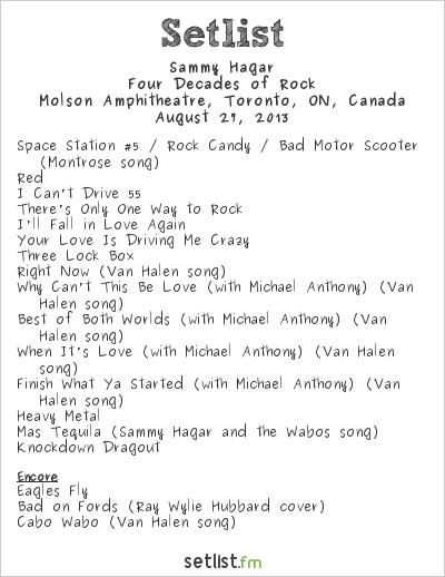 Sammy Hagar Setlist Molson Amphitheatre, Toronto, ON, Canada 2013, Four Decades of Rock