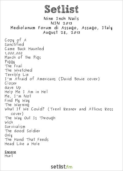 Nine Inch Nails Setlist Mediolanum Forum di Assago, Assago, Italy, NIN 2013