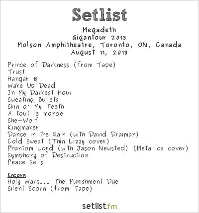 Megadeth Setlist Molson Amphitheatre, Toronto, ON, Canada, Gigantour 2013