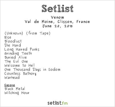 Venom Setlist Hellfest 2015 2015