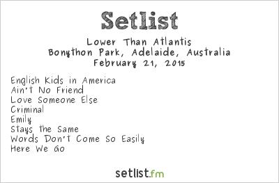 Lower Than Atlantis Setlist Soundwave Adelaide 2015 2015