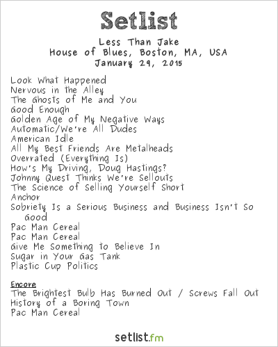 Less Than Jake Setlist House of Blues, Boston, MA, USA 2015