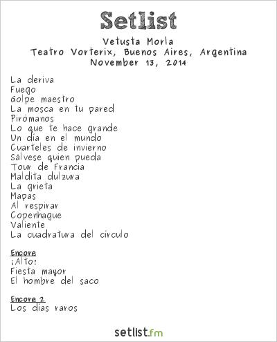 Vetusta Morla Setlist Teatro Vorterix, Buenos Aires, Argentina 2014
