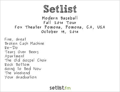 foxing tour setlist