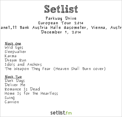 Parkway Drive Setlist Gasometer, Vienna, Austria, European Tour 2014