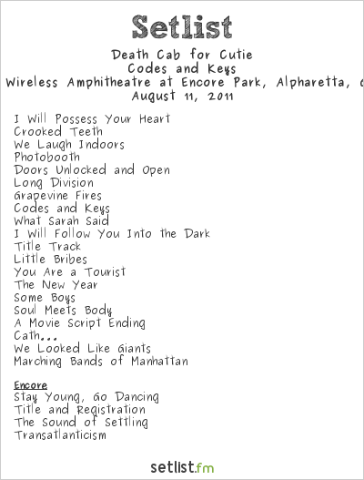 Death Cab for Cutie at Verizon Wireless Amphitheatre at Encore Park, Alpharetta, GA, USA Setlist