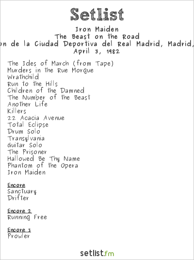 Iron Maiden Setlist Pabellón de la Ciudad Deportiva del Real Madrid, Madrid, Spain 1982, The Beast On The Road