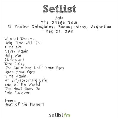Asia Setlist El Teatro Colegiales, Buenos Aires, Argentina 2011, The Omega Tour