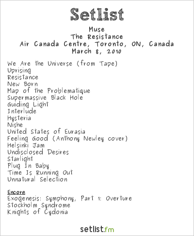 Muse Setlist Air Canada Centre, Toronto, ON, Canada 2010, Resistance North American Arena Tour