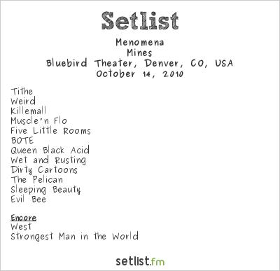 Menomena Setlist Bluebird Theater, Denver, CO, USA 2010