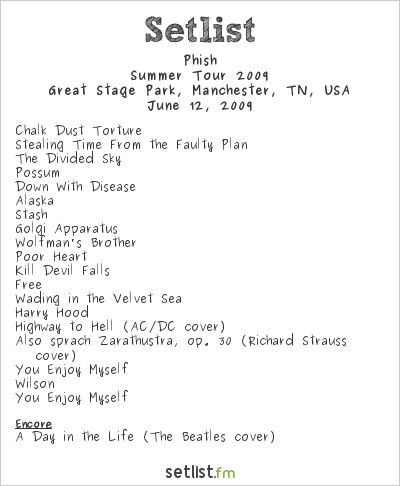 Phish Setlist Bonnaroo 2009, Summer Tour 2009
