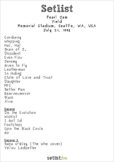Pearl Jam Setlist Memorial Stadium, Seattle, WA, USA 1998, Yield