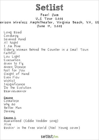Pearl Jam Setlist Verizon Wireless Amphitheater, Virginia Beach, VA, USA, U.S Tour 2008